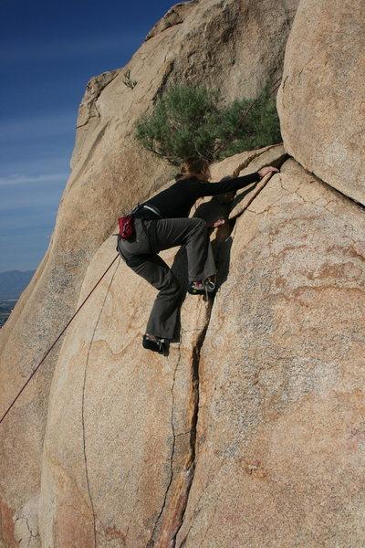 Rock Climbing Photo: Noelle on The Finger Crack. 2-28-10