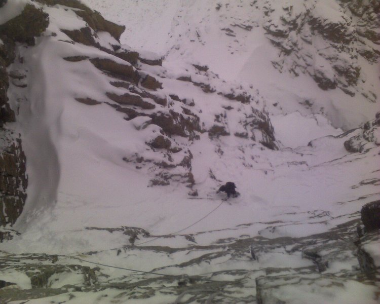 Rock Climbing Photo: Andy Grauch part way up the east gully of the Shar...