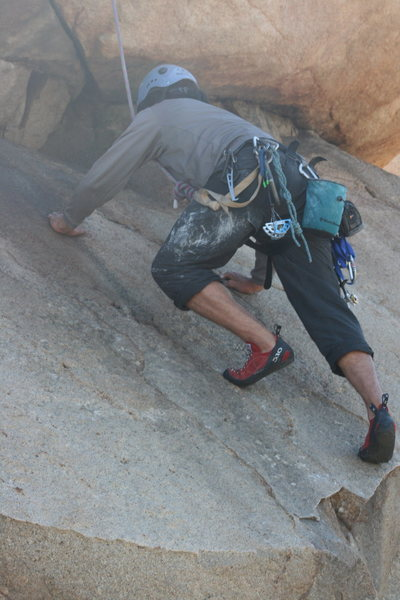 Nice close-up  look at Albert on the short friction slab above the Haney Face. 2-28-10