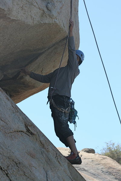 Rock Climbing Photo: Albert confronting the Haney Overhang. 2-28-10