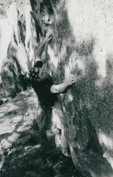 Rock Climbing Photo: Climbing the V4 Super Linker on the Chris & Jeff b...
