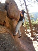 Rock Climbing Photo: Making the move on the Left Bulge. 5.10  As rated ...