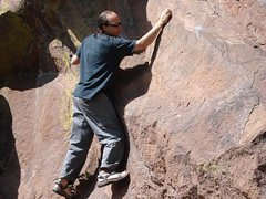 Rocking the Super Linker in Tevas. Best route on Flagstaff. Chris & Jeff Boulder!