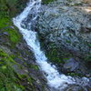 Water cascading down the normally dry descent gully to Echo Cliffs, Santa Monica Mountains, CA