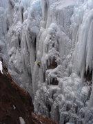 Rock Climbing Photo: J. Czyz on Whitt`s World WI 5-, Dec 28, 2004.
