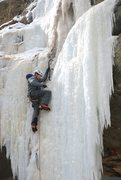 Rock Climbing Photo: Nick Rhoads placing a screw towards the top of the...
