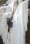 Rock Climbing Photo: Nick Rhoads placing a screw towards the top of the...