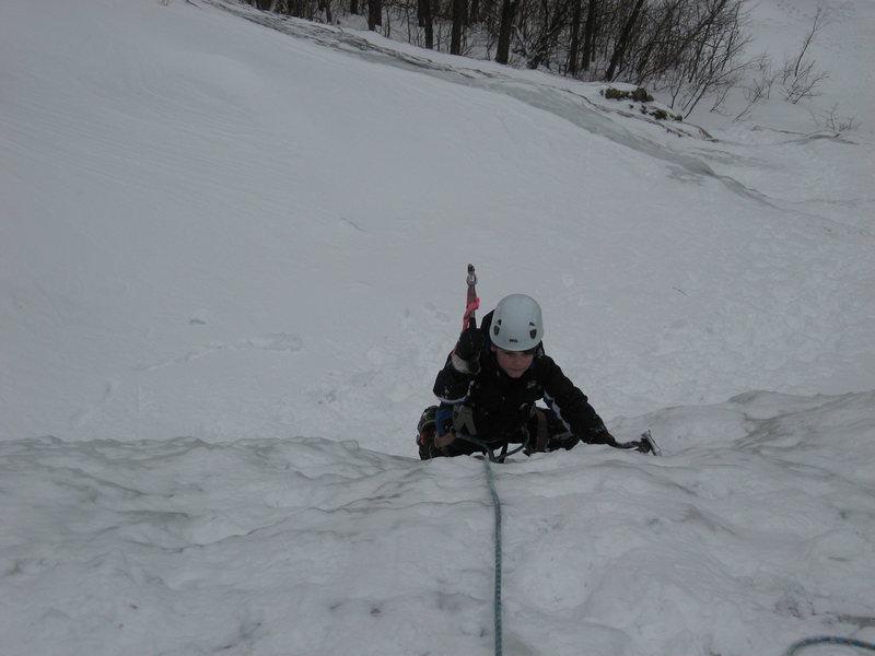 Rock Climbing Photo: Jarod my 7 year old son on the WI2 bulge