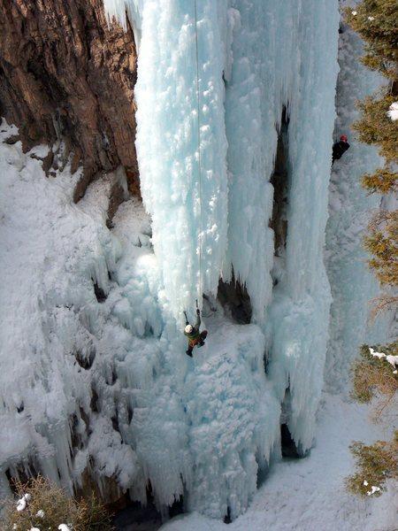 Matt climbs Popsicle, Ouray Ice Park.