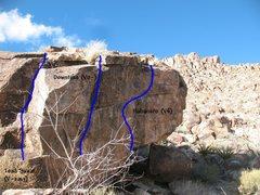 Rock Climbing Photo: Photo/topo for The Habanero (S. Face), Joshua Tree...