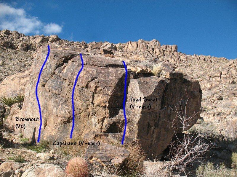 Rock Climbing Photo: Photo/topo for The Habanero (SW Face), Joshua Tree...