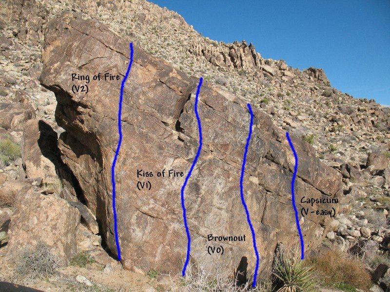 Photo/topo for The Habanero (West Face), Joshua Tree NP