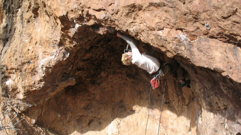 Entering the first crux, pulling the lip.