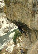 Rock Climbing Photo: Sticking the dyno in the cold, with an attentive R...