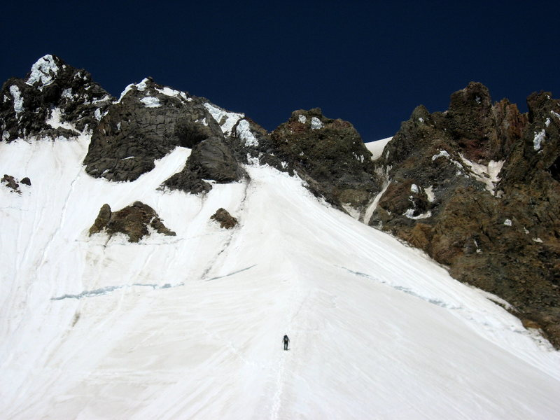 Unknown climber on the hogsback headed toward the icy dribble on the right that used to be the Pearly Gates.  7/6/08