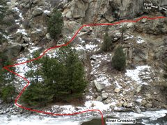 Rock Climbing Photo: Pic shows where low water crossing is and the appr...