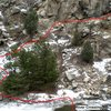 Pic shows where low water crossing is and the approach trail for the cliff.