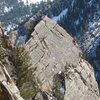 Unknown climbers on the arete of Tower One.