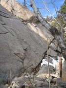 Rock Climbing Photo: Le Petit Francais climbs the sunlit, left-facing d...