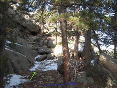 Rock Climbing Photo: Green - Greyrock Summit Trail.  Blue - to The Ripp...
