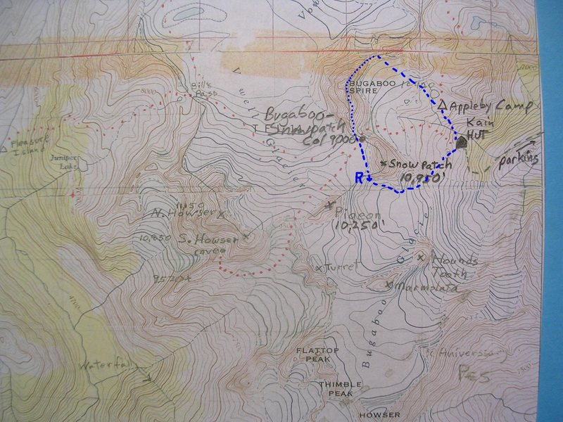 Rock Climbing Photo: Bugaboo Northeast Ridge Approach Map  contour inte...
