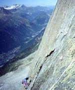 """Rock Climbing Photo: High on """"Le Ticket, Le Rond, Le Carre, et La ..."""