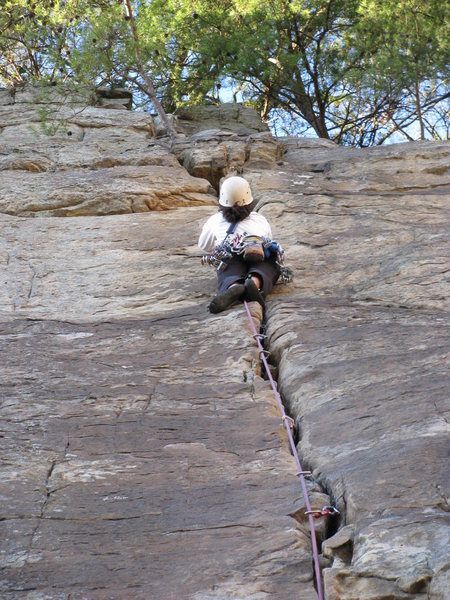 Rock Climbing Photo: sending the wife up