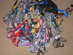 Rock Climbing Photo: The Aid rack in a pile. Not even showing All....