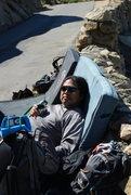 Rock Climbing Photo: Albert waiting for his turn on the Beach Prob. dri...
