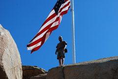 Rock Climbing Photo: Nate bouldering up near the flag on Mt. Rubidoux 2...