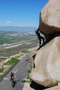 Rock Climbing Photo: Bill trying to get over the roof section of the Be...