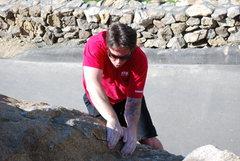 Rock Climbing Photo: Sean bouldering near the Beach Prob. 2-28-10