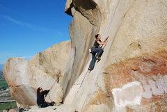 Rock Climbing Photo: me climbing Smooth Sole  2-28-10