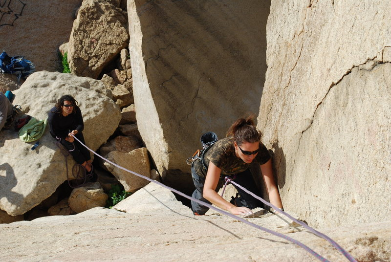 Rock Climbing Photo: me working the crack to the left of Smooth Sole 2-...