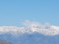 Rock Climbing Photo: snow on the mountains behind Rubidoux 2-28-10