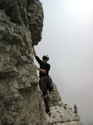 Rock Climbing Photo: Reaching up to the short roof above the gnome's ga...