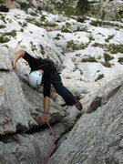 "Rock Climbing Photo: The ""key passage"" crack pitch on La Tour..."