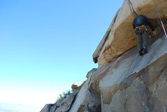 Rock Climbing Photo: Me on the Haney Overhang. 2-28-10 Head foot Jam to...