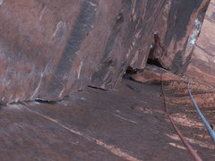 Rock Climbing Photo: Pitch 7, with pitch 6 anchors visible.