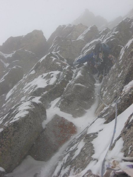 Rock Climbing Photo: Chris Sheridan in the east gully of The Sharkstoot...