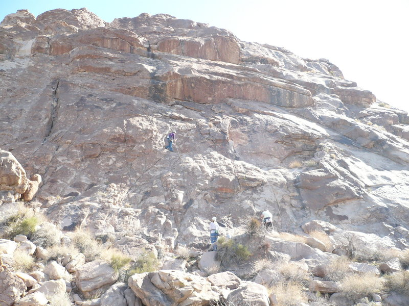 Slab where all three routes are.  Rose leading on Shoshone Tears