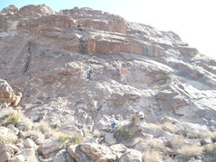 Rock Climbing Photo: Slab where all three routes are.  Rose leading on ...