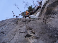 Rock Climbing Photo: Looking straight up into the overhanging ice.  Kil...