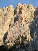 Rock Climbing Photo: Tour des Gémeaux approximate route