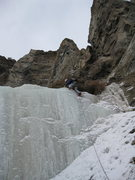 Rock Climbing Photo: Ice lower down in the gully