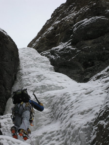 Rock Climbing Photo: Ice mid way up