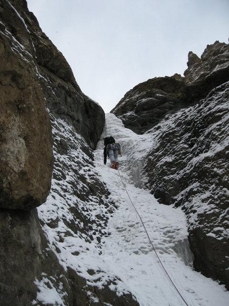 Rock Climbing Photo: Fun ice mid way up
