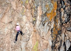 Rock Climbing Photo: The lower portion of the route has some great litt...