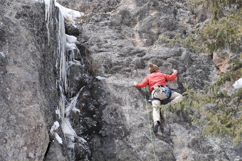 Mark entering the crux. March 2010.