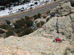 Rock Climbing Photo: Nate A enjoying the final headwall pitch.  2-6-201...